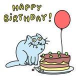 Смешной голубой кот день рождения счастливый также вектор иллюстрации притяжки corel Стоковая Фотография