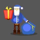 Смешной голубой Санта Клаус с сумкой и подарком представьте вас вектор Поздравительная открытка или плакат рождества Стоковые Изображения RF