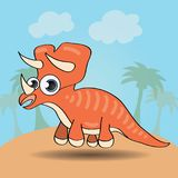 Смешной динозавр стиля шаржа иллюстрация штока