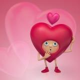 Смешной думать шаржа сердца Валентайн иллюстрация вектора