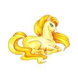 Смешной желтый пони Маленькая иллюстрация акварели лошади иллюстрация штока