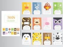Смешной животный дизайн календаря 2018, год шаблонов карточек собаки ежемесячных, комплект 12 месяцев, ежемесячные дети, иллюстра Стоковое фото RF