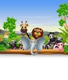 Смешной животный шарж с пустым знаком и тропическим заводом иллюстрация штока