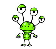 Смешной зеленый изверг с 4 глазами бесплатная иллюстрация