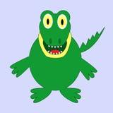 Смешной зеленый крокодил шаржа Стоковое Изображение