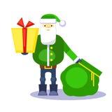Смешной зеленый Санта Клаус с сумкой и подарком представьте вас вектор Поздравительная открытка или плакат рождества Стоковое Изображение