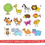 Смешной зоопарк в изображении чертежа руки ребенка Стоковая Фотография RF