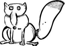 Смешной лиса нарисованная рукой Стоковое Изображение