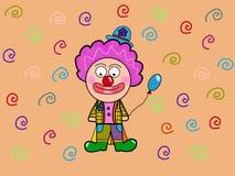 Смешной клоун с голубым воздушным шаром стоковая фотография