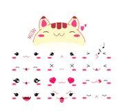 Смешной комплект значка смайлика кота стиля kawaii бесплатная иллюстрация
