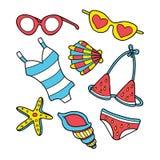 Смешной комплект doodle лета Стоковое Изображение