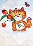 Смешной котенок с цветками Крася влажная акварель на бумаге Наивнонатуралистическое искусство Акварель чертежа на бумаге иллюстрация вектора