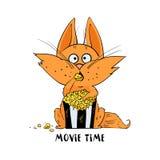 Смешной кот ест попкорн и смотреть кино иллюстрация вектора