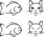 Смешной кот и рыбы чертеж шоколада шаржа падает молоко подач сторон смешное стоковые изображения rf