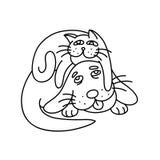 Смешной кот кладя на собаку иллюстрация Стоковая Фотография RF