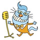 Смешной кот поя песню также вектор иллюстрации притяжки corel Стоковая Фотография