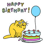 Смешной кот с тортом и воздушным шаром также вектор иллюстрации притяжки corel Стоковое Изображение RF