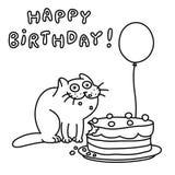 Смешной кот с тортом и воздушным шаром также вектор иллюстрации притяжки corel Стоковое фото RF