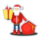 Смешной красный Санта Клаус с сумкой и подарком представьте вас вектор Стоковое Изображение RF