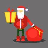 Смешной красный Санта Клаус с сумкой и подарком представьте вас вектор Поздравительная открытка или плакат рождества Стоковое Изображение RF