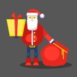 Смешной красный Санта Клаус с сумкой и подарком представьте вас вектор Поздравительная открытка или плакат рождества Стоковые Фотографии RF