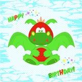 Смешной красочный дракон пинк приветствию девушки цвета поздравительой открытки ко дню рождения Дизайн футболки для детей Дизайн  Стоковые Фото