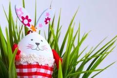 Смешной кролик пасхального яйца в зеленой траве Стоковое фото RF