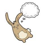 смешной кролик шаржа с пузырем мысли Стоковое Изображение RF