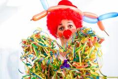 Смешной клоун на партии или масленице Стоковые Изображения