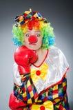 Смешной клоун с перчатками бокса Стоковые Изображения