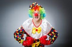 Смешной клоун с перчатками бокса Стоковое Изображение RF