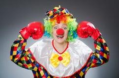Смешной клоун с перчатками бокса Стоковые Изображения RF