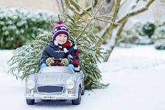 Смешной маленький усмехаясь мальчик ребенк управляя автомобилем игрушки с рождественской елкой Стоковые Изображения RF