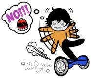 Смешной мальчик doodle вектора падает на segway Человек мультфильма пробуя держать баланс Гай балансируя на современные электриче иллюстрация штока