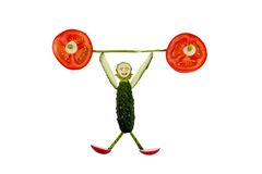 Смешной маленький человек сделанный из огурца Стоковое Изображение