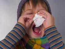 Смешной мальчик обтирает нос с салфеткой Стоковые Фото