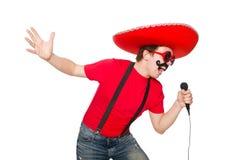 Смешной мексиканец при изолированный mic стоковые фотографии rf