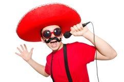 Смешной мексиканец при изолированный mic стоковое фото