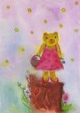 Смешной медведь стоя на пне дерева иллюстрация штока