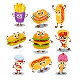 Смешной, милый гамбургер фаст-фуда, сандвич, хот-дог, пицца, лед c бесплатная иллюстрация