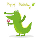 Смешной милый стиль шаржа крокодила Печать вектора Стоковая Фотография