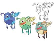 Смешной мультфильм покрашенный для записи ручной работы пчелам чудовища doodle притяжки чудовища пчелы бесплатная иллюстрация
