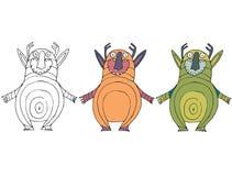 Смешной мультфильм покрашенный для записи ручной работы чудовища doodle притяжки бесплатная иллюстрация