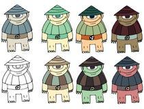 Смешной мультфильм покрашенный для записи ручной работы чужеземцам чудовища doodle притяжки черепахи бесплатная иллюстрация