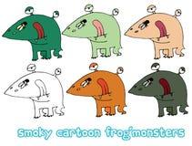 Смешной мультфильм покрашенный для записи ручной работы чужеземцам чудовища doodle притяжки лягушки иллюстрация штока