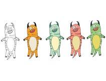 Смешной мультфильм покрашенный для записи ручной работы чужеземцам чудовища doodle притяжки тигра иллюстрация вектора