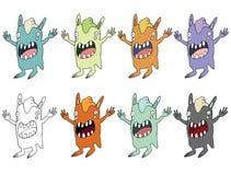 Смешной мультфильм покрашенный для записи ручной работы чужеземцам чудовища doodle притяжки кролика иллюстрация вектора