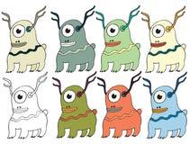 Смешной мультфильм покрашенный для записи ручной работы чужеземцам чудовища doodle притяжки оленей иллюстрация вектора