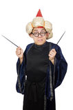 Смешной мудрый изолированный волшебник Стоковое фото RF