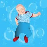 Смешной младенец на предпосылке моря Стоковые Фотографии RF
